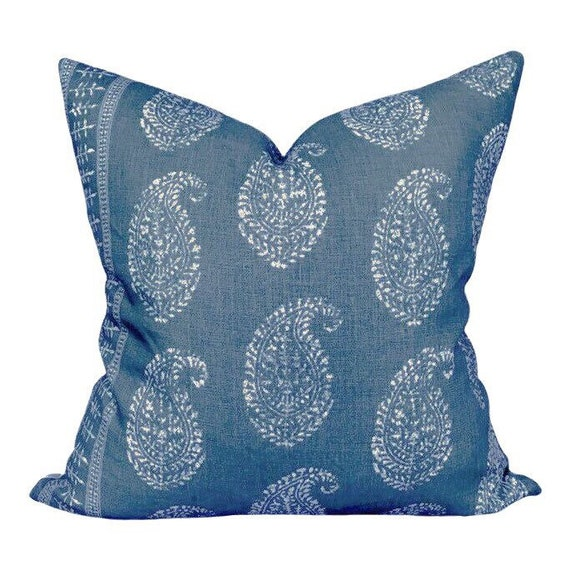 Peter Dunham Outdoor Kashmir Paisley Pillow In Indigo Etsy
