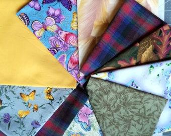 Vintage Fat Quarter Fabric, Butterflies and more ~ 10 PCS