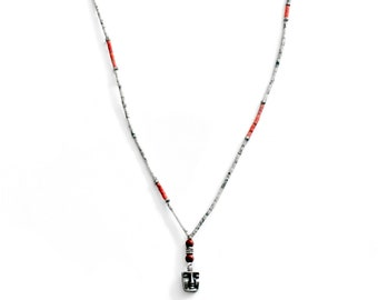 White, Red and Sterling Silver Vinyl Beaded Necklace with Sterling Silver Face Pendant, By Nevo Vintage Beaded Necklace, Twilight Jewelry
