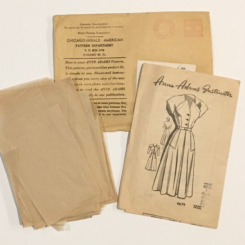 Anne Adams mail order dress pattern unprinted Bust 34 1940s