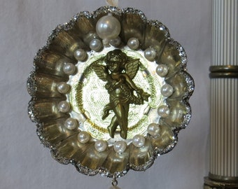 Altered Tart Tin Christmas Ornament