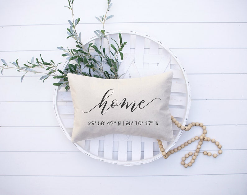 Home Latitude Longitude Pillow Personalized Housewarming Gift Sand with Insert