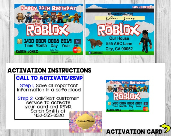 Roblox Credit Card Payment Tool Download - Roblox Credit Card Invitationbirthday Card Invitations Birthday Credit Card Digital Boy Custom Roblox Character