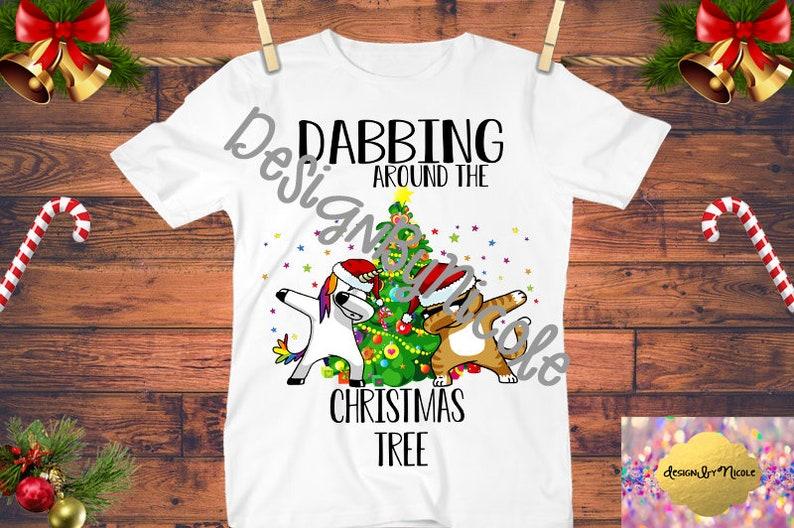 Unicorn Doing The Dab Iron On,Dabbing Around the Christmas tree  Shirt,Unicorn Dabbing,Rainbow, Dab Cat,Digital, Instant Download,Printable