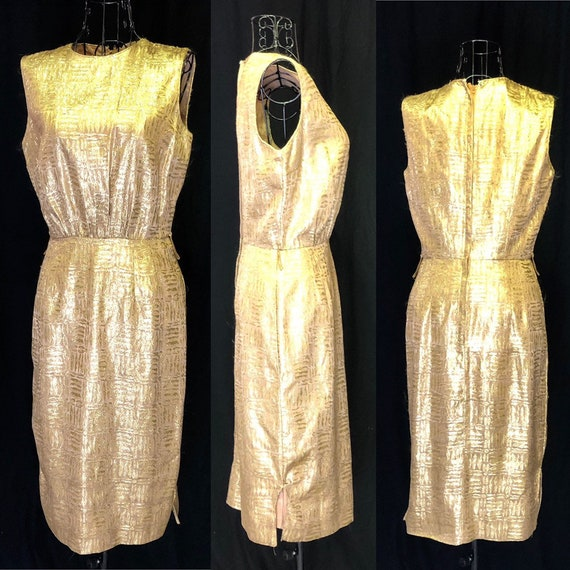 1960s Gold Cocktail New Years Dress in Size 4 Smal