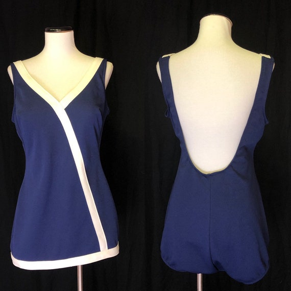 1960s One Piece Bathing Suit in Size 8 Medium Navy