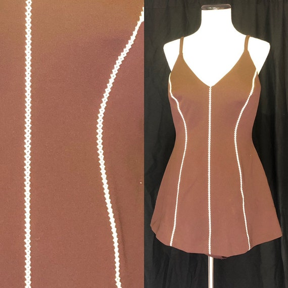 1970s Cole of California Brown Swimsuit in Size 8
