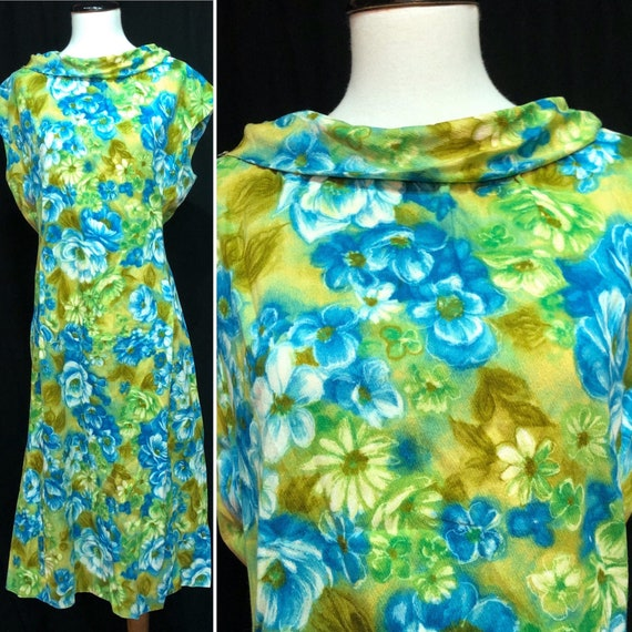 1960s Blue & Green Mod Scooter Dress in Size 18 20