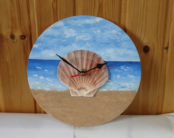 Unique Hand Painted Seaside wall Clock with Clam Shell