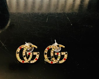 ec37789e8 GG Inspired Rhinestone Fashion Stud Earrings, birthday gift, Independence  Day