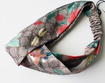 1acf2f6ee41 Gucci Inspired Floral Bird Print Turban Headband- spring headband