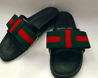 fa74098e34b Gucci Inspired Designer Ribbon Women s Slides