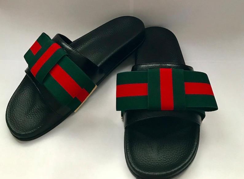 a9b337eaeb4d8 Gucci Inspired Designer Ribbon Women's Slides, beach slides,pool slides