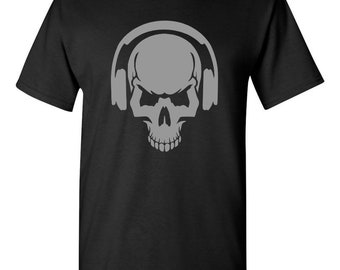 Skullptured Skull Headphone T-shirts