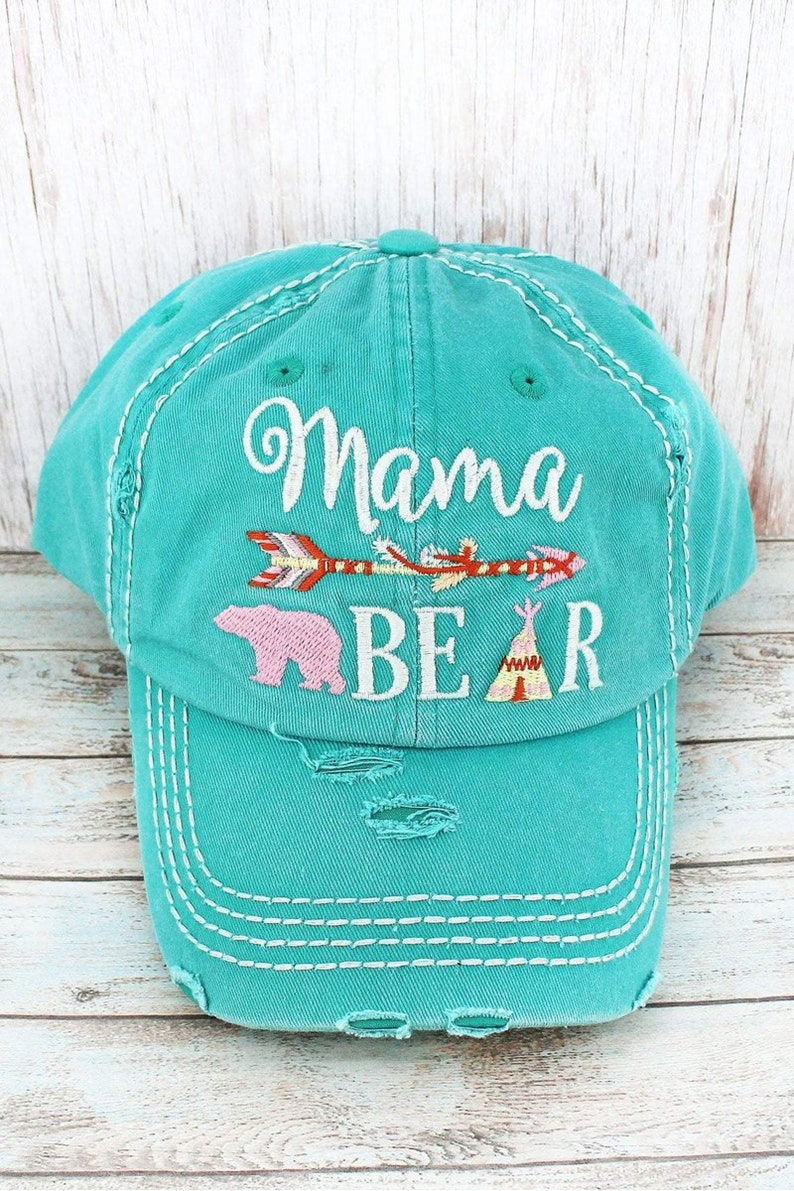Womens Custom Hat Blessed Mama Mom Trucker Hats Distressed Embroidered Ball Cap