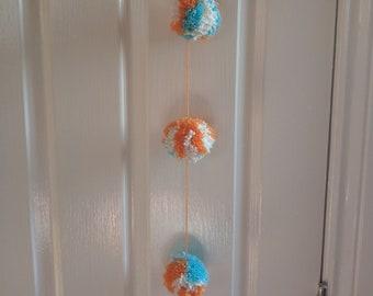 Orange White and Blue Hanging Pom Poms