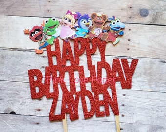 happy birthday cake topper puppets muppets babys purple cute glitter