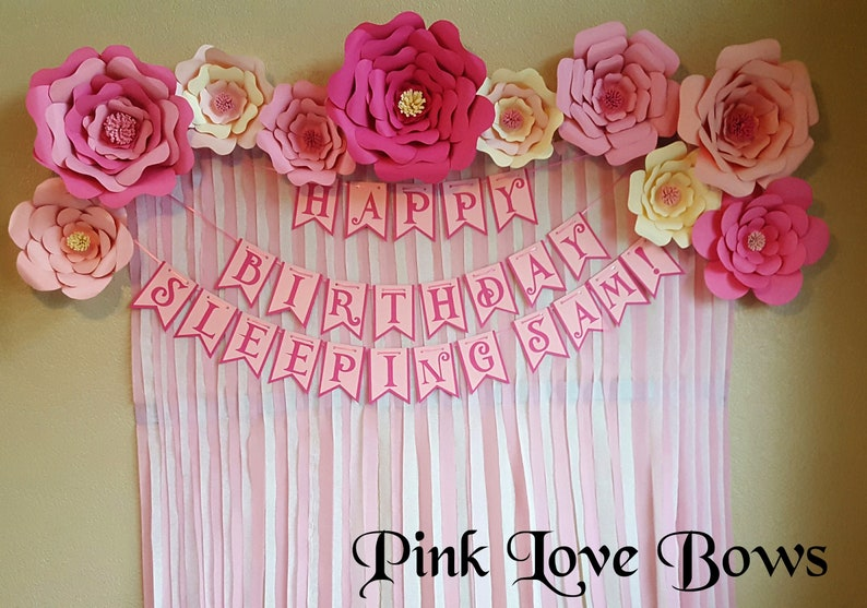 Pink And White Paper Flowers Giant Flowers Backdrops Party Decorations Big Flowers Cream Pink Light Pink Birthday Party