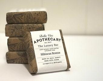 Handmade natural artisanal soap Hibiscus Breeze Luxury Bar Deluxe