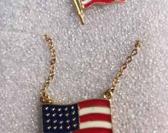 Vintage Flag Necklace w/ lapel pin