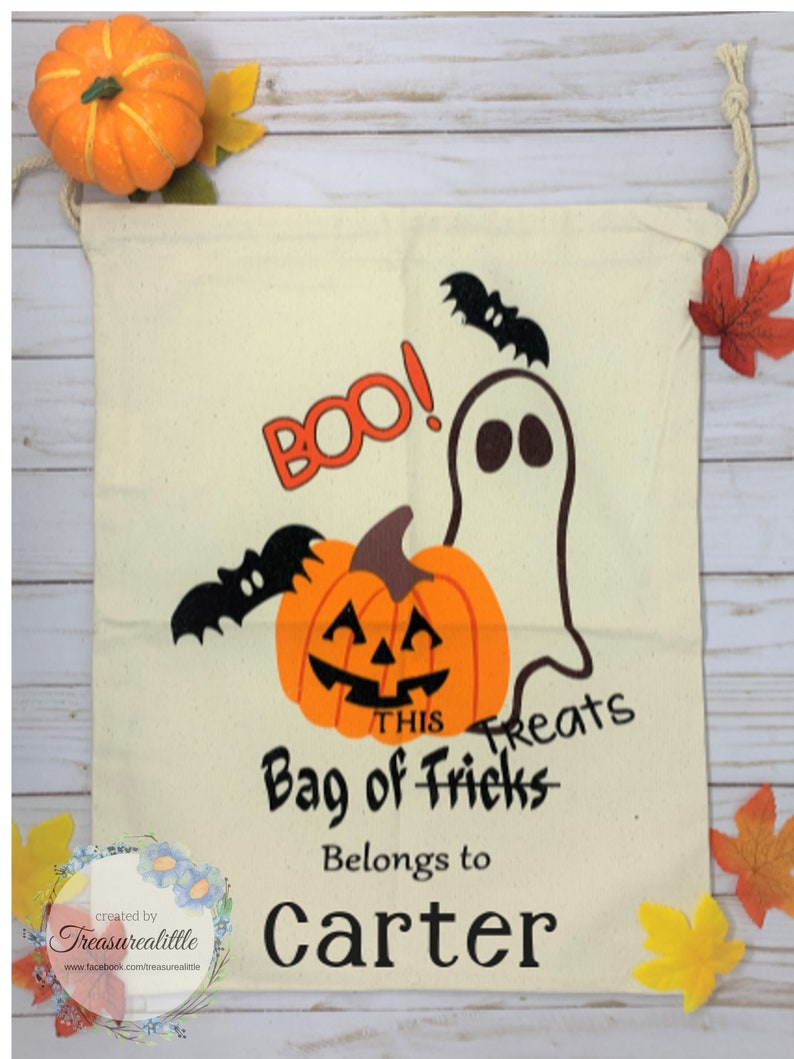 Super Cute Halloween Trick or Treat Drawstring Canvas Bags personalized With Name