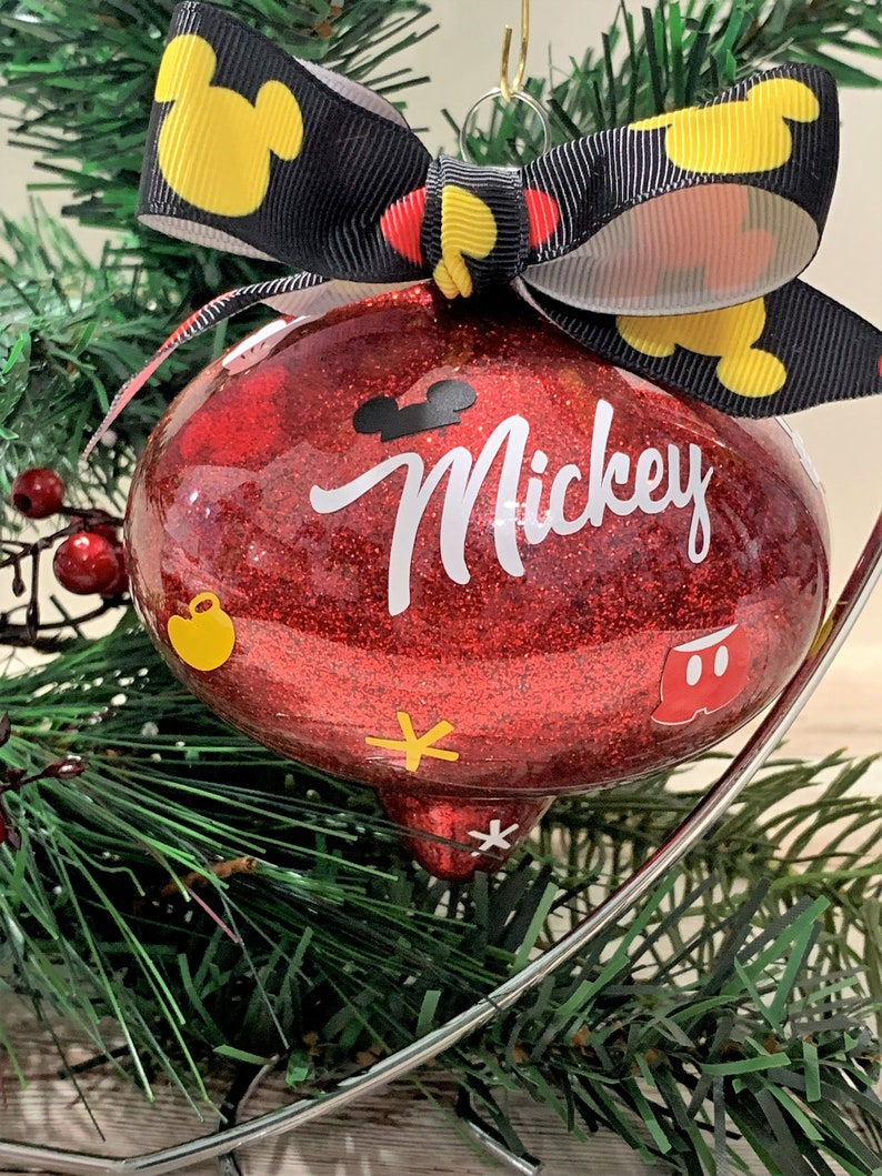 Handmade Christmas Disney Mickey Body Parts Ornaments Large 4 Shatterproof Black Red Or White
