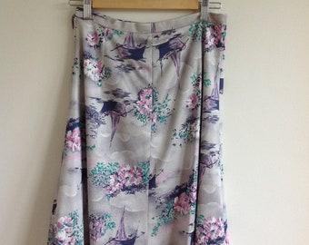 70s print A line midi skirt