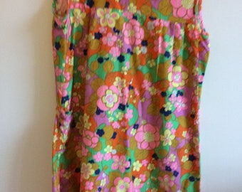 70s flower print cotton house dress