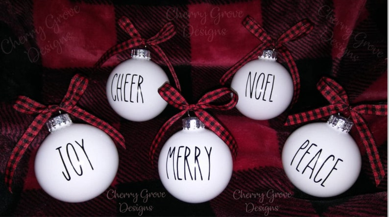 Rae Dunn Inspired Ornaments Rae Dunn Christmas Farmhouse Christmas Ornaments Rustic Holiday Decor Customizable Rae Dunn Glass Ornaments