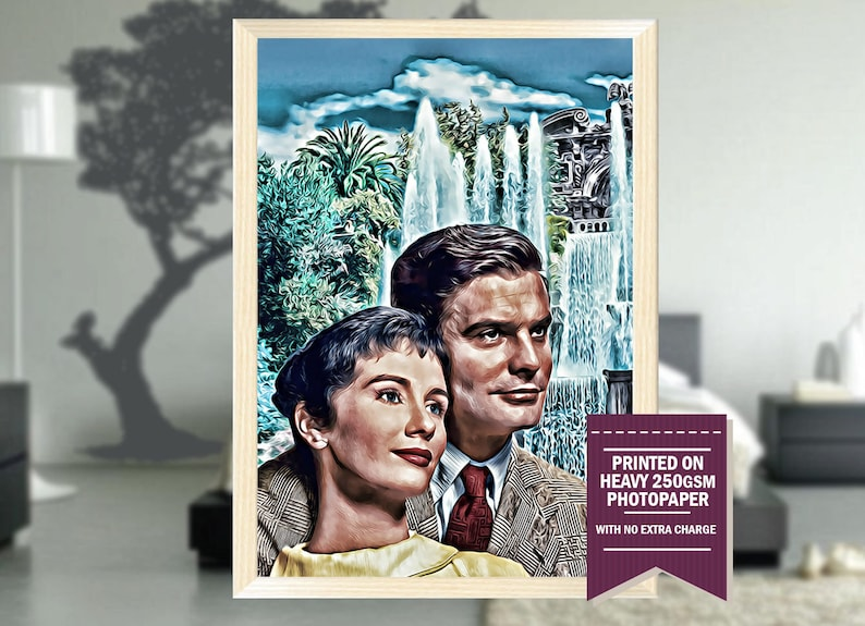 Three Coins in the Fountain, gifts, three coins poster, three coins print,  three coins art, three coins movie, vintage, room decor, 1957