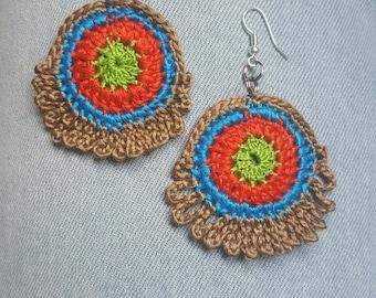 Bright Bohemian crochet earrings