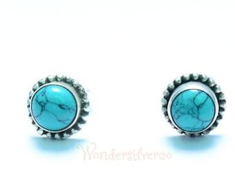 Turquoise Stud, Turquoise Stud Earrings, Turquoise Studs, Turquoise Stud Sterling Silver, Turquoise Stud Earrings 5mm , Bohemian Stud