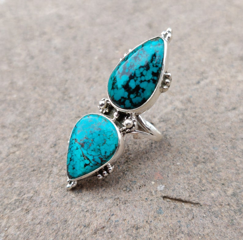Turquoise Stone Ring Natural Turquoise Ring,Sterling Silver Ring,Grand Turquoise Ring,Bohemian Ring Navajo Ring Tibetan Turquoise Ring