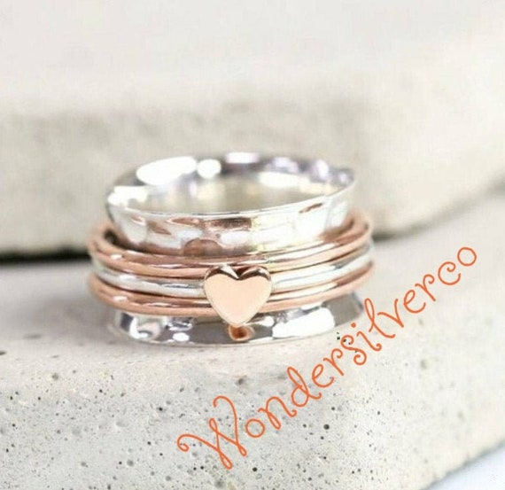 Silver Spinner Ring*Three Band Ring*Meditation Ring*Anxiety Ring**Worry Ring*Thumb Ring*Boho Ring* Silver Ring*Gift Ring Pre-engagement Ring