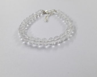 Natural White Crystal Beaded Bracelet !! 925 Sterling Silver Natural Crystal Bracelet !! Handmade Jewelry !! Perfect Gift