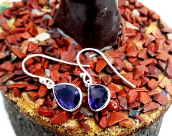 Natural Amethyst Gemstone Earrings ! 925 Sterling Silver Fine Dangle Drop Earrings ! Fine And Fashion Jewelry ! Perfect Gift !