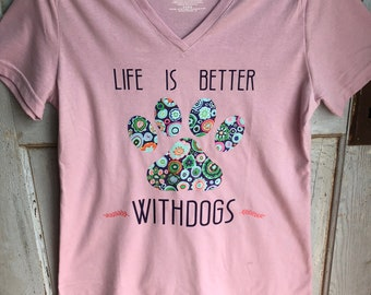 Life is Better With Dogs V Neck