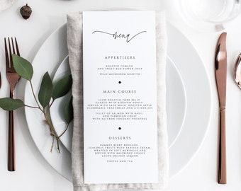 Printable Wedding Menu Script Wedding Menu Template Instant Download #066-M 3.75x9 Editable Menu