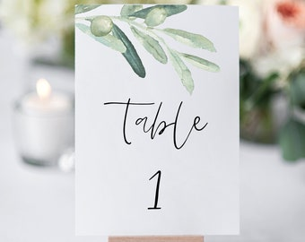 INSTANT DOWNLOAD Printable Table Numbers 100/% Editable Text Olive Branch Wedding Table Numbers Template #030-TN