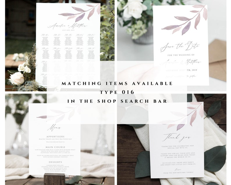 Evening Invite Lilac Foliage Instant Download Wedding Reception Party Invitation Template Wedding Reception Printable #016-ER