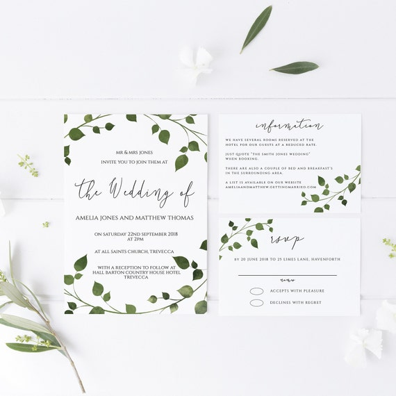 Printable Invitation Suite including rsvp /& details card Wedding Invitation Template Greenery Collection