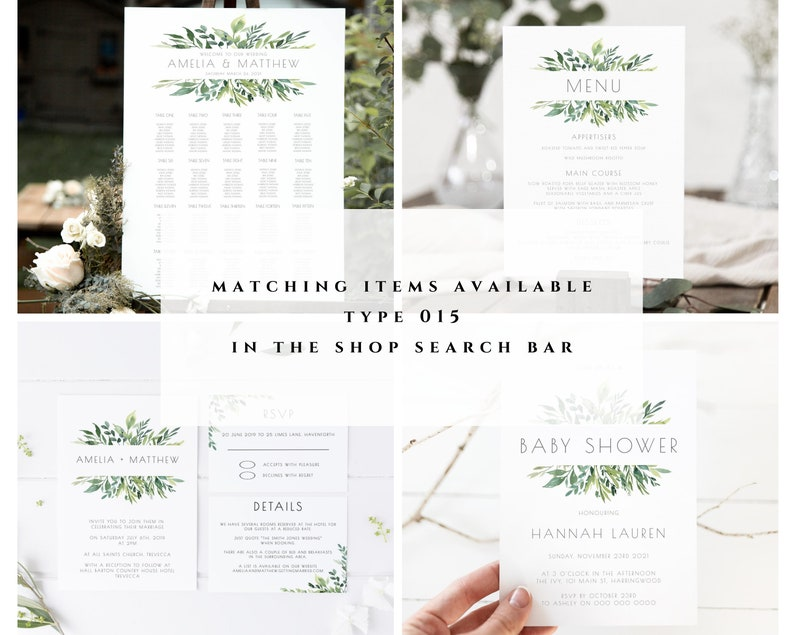 Greenery Band Wedding Place Card Template Name Cards #015-PC Escort Cards Template Printable Place Cards Place Cards