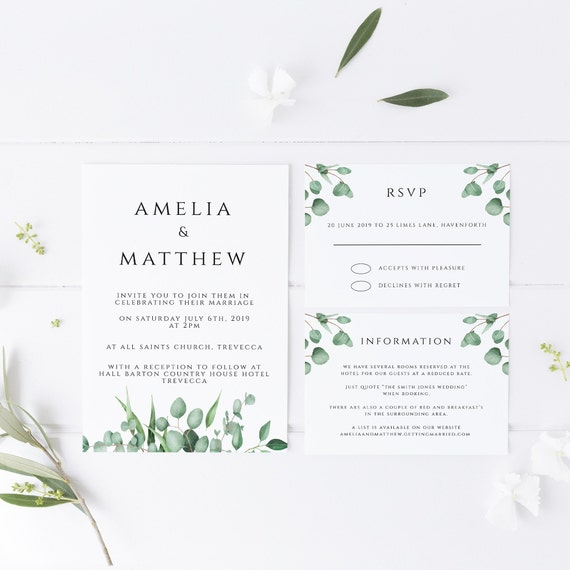Printable Invite Suite including rsvp /& details card Instant Download Soft Eucalyptus Wedding Invitation Template Editable Text