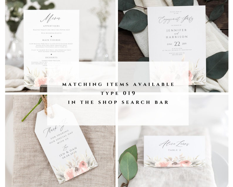 Engagement Party Invitation Template Printable Engagement Invitation Card #019-E Soft Florals Engagement Invitation