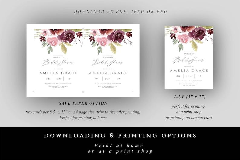 DIY Bridal Shower Invite Printable Bridal Invitation Card Bridal Shower Invites #001 Burgundy Floral Bridal Shower Invitation Template