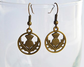 Bronze Scottish Thistle Flower Dangle & Drop Hook Earrings - Claire Fraser Sassenach Jewelry - Outlander inspired