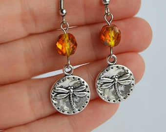 Dragonfly Coins and Amber Czech Glass Beads Earrings - Claire Fraser Sassenach Jewelry - Outlander inspired