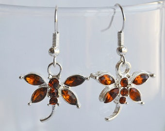 Amber Rhinestones Dragonfly Silver Hook Earrings - Claire Fraser Sassenach Jewelry - Outlander inspired