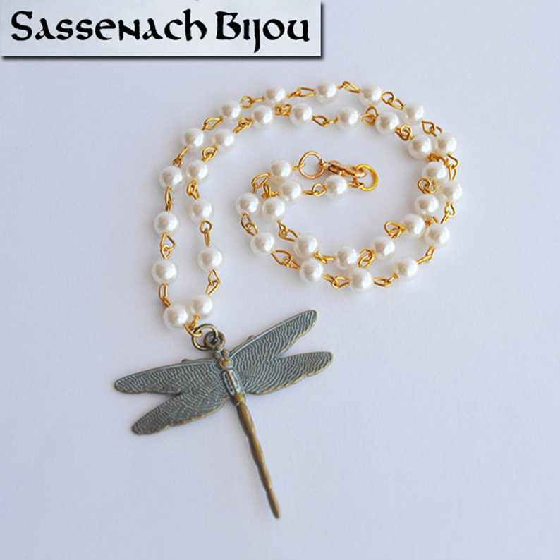 1a1673480fdc2 Dragonfly and Pearls Vintage Style Pendant Necklace - Sassenach Jewelry -  Outlander inspired