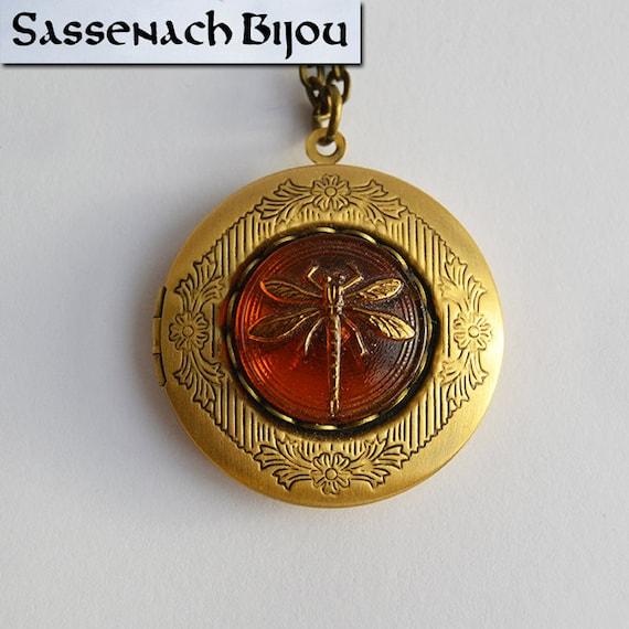 celtic wedding vows inside Czech Glass on Bronze Tone Brass Pendant Necklace Dragonfly in Amber Locket Sassenach Jewelry